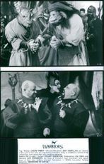 1997 Two scene from the film Warriors of Virtuetop Top: Mosely(Jason Hamer- left) and Willy Bees:(Roy Ceballos)  Bottom: (left to right): Dullard (Stuart Kingston), Barbarotious (Qu Ying) and Mantose (Lee Arenberg).