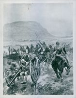 Illustration of soldiers in field during wartime.