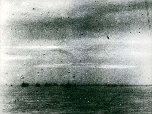 A view of battleships in the sea during the Battle of France.