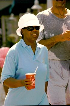 Oprah Winfrey and Stedman Graham during a jogging trip in Florida.
