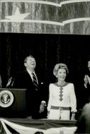 US President Ronald Reagan and his wife Nancy receive applause at the Republican National Convention