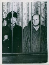 1946 Trial of Vito Mussolini A photo of  a journalist and political Italian, granddaughter of Benito Mussolini ,Vito Mussolini behind bars.