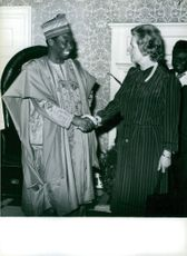 Margaret Thatcher welcoming Professor Ishaya Audu at Number 10 Downing St., 1980.