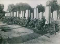 Machines and parts of weapon serially lying during first world war in 1915, Poland.