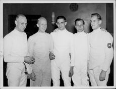 The German national team in fencing.