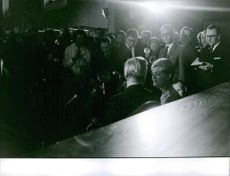 Prince Johann Georg of Hohenzollern and Princess Birgitta of Sweden, surrounded by media. June 6, 1961.