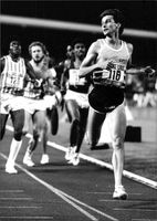 Sebastian Coe participates in a race at 800 meters in Zurich