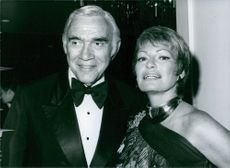 Close up photo of Canadian actor Lorne Greene and his wife Nancy Deale, they are smiling