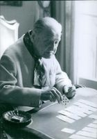 William Maugham seen playing cards. 1965.