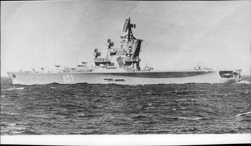 The helicopter cruiser Moskva heading through the Mediterranean.