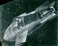 An illustration of astronaut siting in space craft.