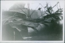 A gas depot damage when the allied forces bomb against the Germans in Trondheim, Norway.