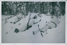 Soldiers on their position during winter war in Finland. 1940