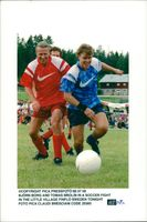 Björn Borg and Tomas Brolin in a football duel in Finflo