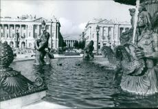The Fountain of River Commerce and Navigation in Paris. Photo taken on October 17, 1963.