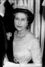 Portrait portrait of Queen Elizabeth II taken at a state visit in Jordan.