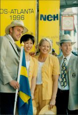The Swedish Olympic Clothes are presented by Mattias Sunneborn, LIm Xiao Ping, Linda Olofsson and JO Waldner for the Olympic Games in Atlanta 1996
