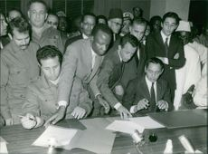Ahmed Ben Bella in a meeting.