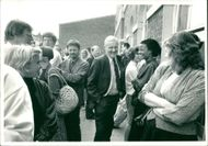 Tony Benn with party workers.