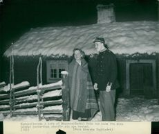 Bertil Holm and his wife Aina outside their home.