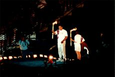 Muhammad Ali lights the fire at the Olympic Summer Games in 1996.