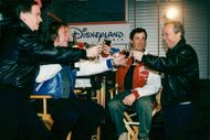 Sylvester Stallone, Gerard Depardieu at Planet Hollywood Paris Disney