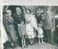 King Gustaf Adolf and Queen Louise participated at Lord Brabourne's daughter's baptism in Merchan.