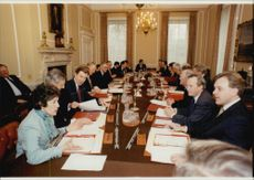 The Prime Minister has a meeting with government members.
