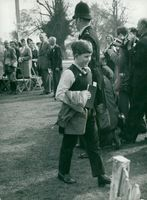 12-year-old Prince Charles of Wales visits the Badminton Horse Trials.