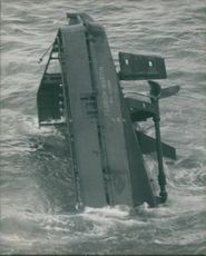 Supply vessel Florida Martin sinking in the North Sea after a collision with the Finnish tanker Sword.  - Oct 1974