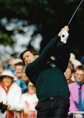 Portrait of the golfer Severiano Ballesteros in action