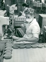 Irenka Sekulic at a machine in Barnängens soap manufacture