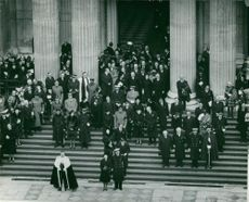British Royal Family and other people attending Winston Churchill´s State Funeral.