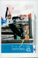 Eric Bergoust during an event with freestyle skiing during the Winter Olympics 1998.