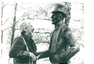 John Harryson in Summer in the Park. Here with the statue of Kalle Hämndeman