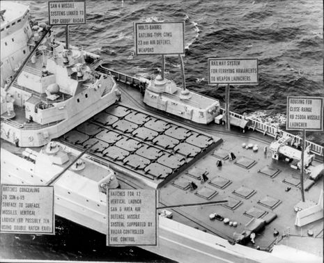 A view of the Kirov missile deck while driving in the North Sea