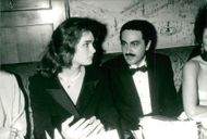 Actress Brooke Shields and film producer Dodi Fayed at Ceasars Award Party
