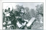 Steve Cloves sitting with camera man on the location set during shooting of the film