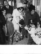 Farah Pahlavi with her two children Reza and Farahnaz.  - 1966