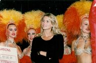 Claudia Schiffer on a cabaret in favor of AIDS on the Moulin Rouge