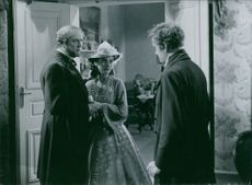 Victor Sjostrom as Captain John Ericsson, Marianne Aminoff as Mary, his daughter and Marianne Aminoff as Mary, his daughterin the film John Ericsson - winner of Hampton Roads, 1937.