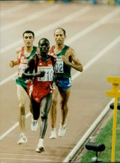 Richard Chelimo, Khalib Skah and Hammou Bouthajeb during the finals of 10,000 meters.