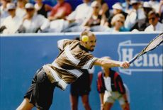 Andre Agassi competes during the US Open.