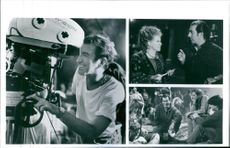 """Kenny Ortega talking to Bette Midler and other casts as they work on the film """"Hocus Pocus""""."""