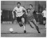 Graham Roberts and David Hodgson are fighting for the ball