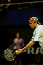 South African tennis player M. Ondruska serves during the Stockholm Open