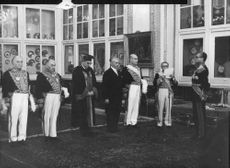 People in a Royal gathering, Vintage photo from the King Jean D folder in a old press archive.