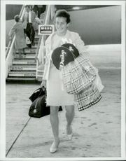 Virginia Wade after arriving at Heathrow Airport after the gain in American Open