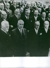 António de Oliveira Salazar standing with other men, 1968.