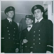 Sig Hansen on the bridge together with Theodore Victor Olsen and Andre Stryman Stoumann. 1944.